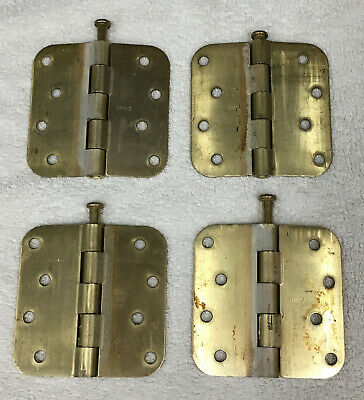 """Brass Plated Steel 4"""" Interior Door Hinges (Set of 4) with Pins Included"""