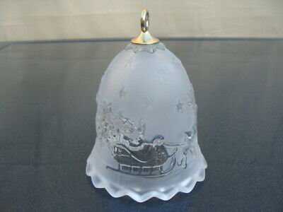 Mikasa Holiday Classic Bell Frosted/Clear Glass Santa In Sled & Reindeers