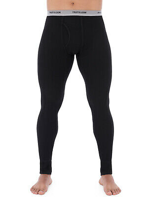 NEW Mens Fruit of the Loom L3 Black Classic Thermal Underwear Pants  2XL