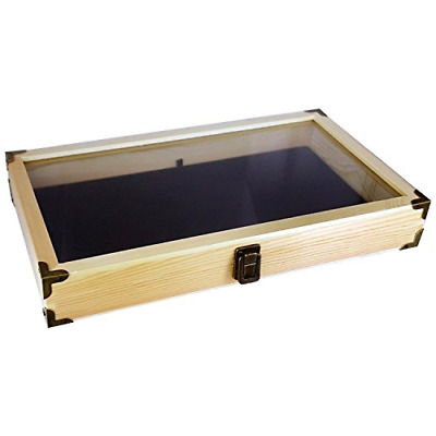 Natual Wood Glass Top Lid Black Pad Display Box Case Medals Awards Jewelry New