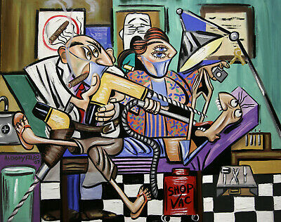 The Dentist Is In Root Canal Original Painting Dentist Dental Art Anthony Falbo