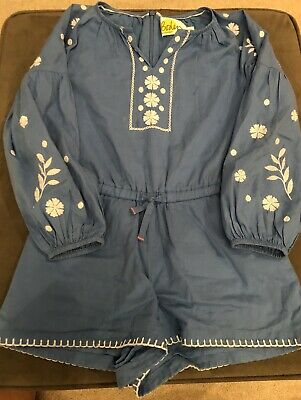 "Mini Boden Girls Chambray Romper Size 6/7 ""AS IS"" Super Cute"