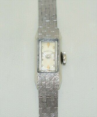 Vintage 14K ANGELUS 17-Jewel Swiss 14-KARAT-WHITE-GOLD New Crystal & SERVICED