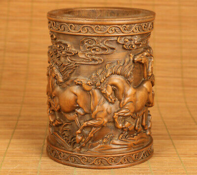 Chinese old boxwood hand carved eight steed horse statue brush pot decoration
