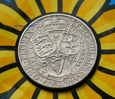 Queen Victoria 1899 Silver Florin. 92.5% two shilling coin  (Sterling) silver HQ