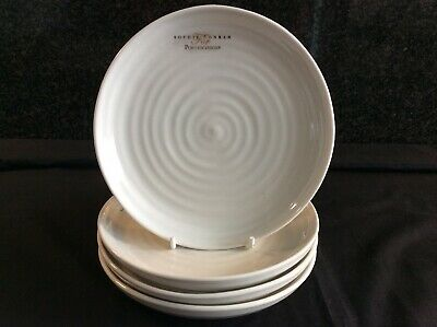"Sophie Conran Portmeirion 4 X 6.5"" Coupe Side Tea Plates White New"