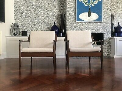 Stunning Pair Of Vintage Danish Armchairs Easy Lounge Chairs