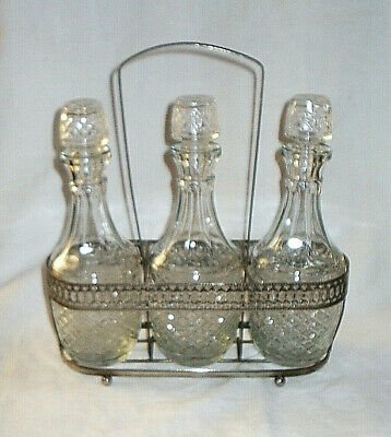 Vintage Silver Plate & Pressed Glass 3 Bottle Decanter Stand