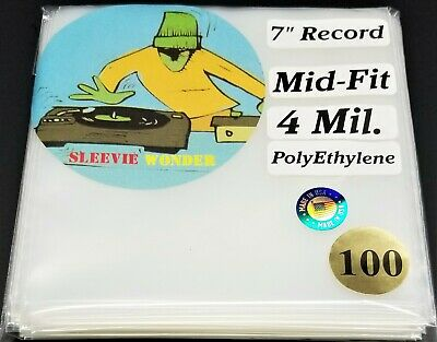 """100 4mil Mid Fit - Seven Inch Vinyl Record Outer Sleeves Plastic dj 7"""" 45 45rpm"""