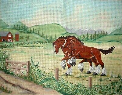 MZC Clydesdale Horses in Farm Pasture HP Hand Painted Needlepoint Canvas