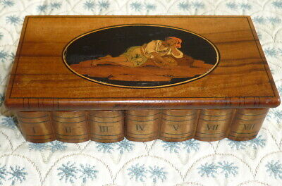 ANTIQUE SORRENTO WARE WOOD MINIATURE BOOK BOX MARQUETRY INLAID 19thc * 5.75 ins