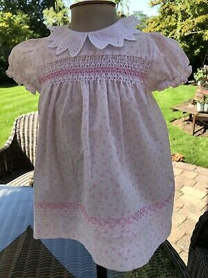 Pretty Vintage BHS Smocked Pink Baby Dress Age 3-6 Months