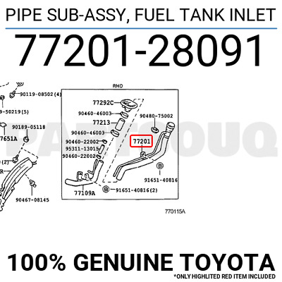 7720160480 Genuine Toyota PIPE SUB-ASSY FUEL TANK INLET 77201-60480