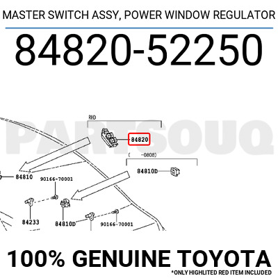 8482052250 Genuine Toyota MASTER SWITCH ASSY, POWER WINDOW REGULATOR 84820-52250