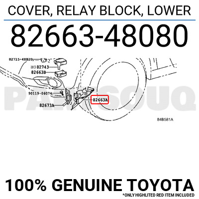 8266348080 Genuine Toyota COVER, RELAY BLOCK, LOWER 82663-48080