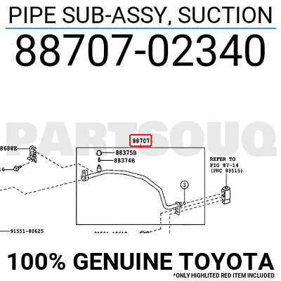 8870702340 Genuine Toyota PIPE SUB-ASSY, SUCTION 88707-02340