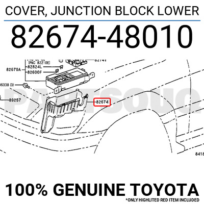 8267448010 Genuine Toyota COVER, JUNCTION BLOCK LOWER 82674-48010