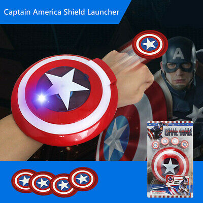 LED Avengers Captain America Shield Launcher Glowing Gloves Mask Kid Toy Gift