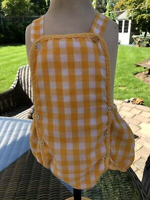 Vintage C&A Yellow Checked Romper Suit Age 6-9 Months