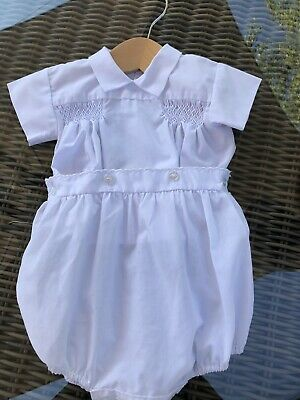 Beautiful Vintage Sarah Louise Hand Smocked White Romper Suit 6-12 Months