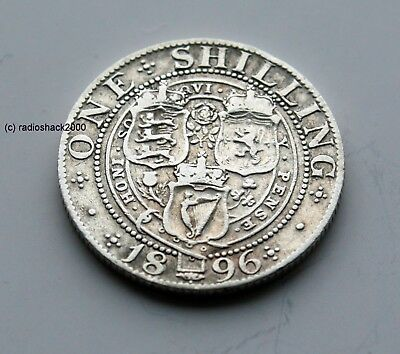 1896 Queen Victoria Silver British English Shilling 92.5% silver