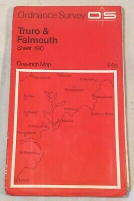"Collectable Vintage ""Truro & Falmouth"" Sheet 190 Ordnance Survey Map c.1972"