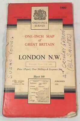 "Collectable Vintage ""London N.W"" Sheet 160 Ordnance Survey Map c.1960"