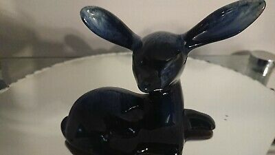 Blue Mountain Pottery Baby Fawn glazed in Cobalt Blue! 1950-60's Vintage!