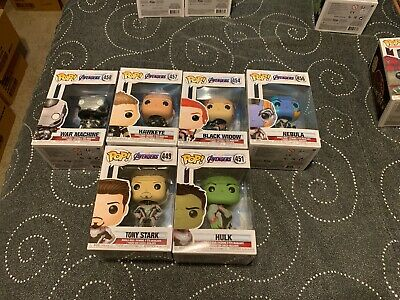 8 Funko Pop Avengers Endgame Lot Black Widow Hawkeye Hulk Iron Man Thanos Thor