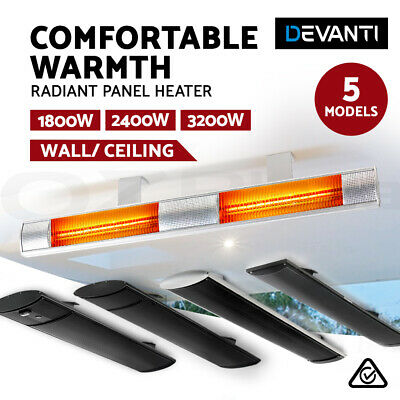 Devanti Electric Infrared Radiant Strip Outdoor Heater Panel Home Heating Bar