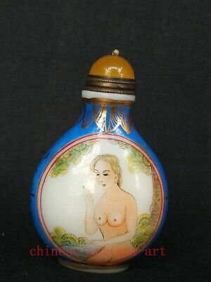 Collection Chinese Antique Coloured Glaze Painting Belle Figure Snuff Bottle