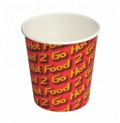 50 x Hot Chip Cup 12oz / 340g Hot Food 2 Go Print Cardboard Takeaway Chip Cup