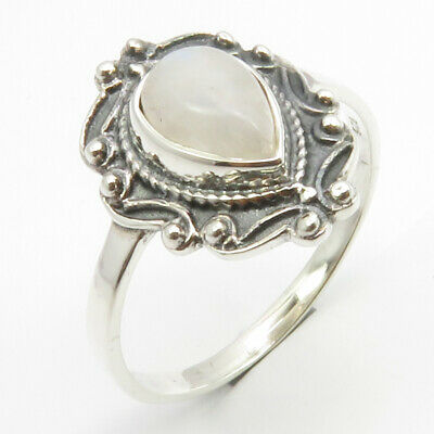 925 Sterling Silver Blue Drop Rainbow Moonstone Ancient Style Ring Size 10
