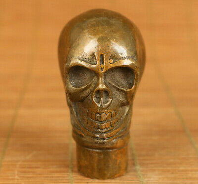 rare asian old bronze hand carved skull head statue walking stick noble decorate