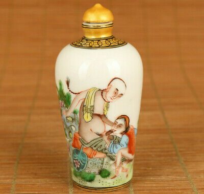rare jingdezhen porcelain hand painting art womam man snuff bottle collectable
