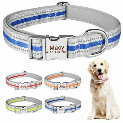 Heavy Duty Personalised Dog Collar Buckle Engraved ID Name Tag Small Large Pet