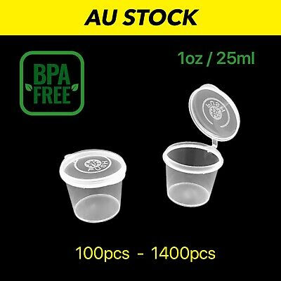100 200 300 500 Disposable Plastic Takeaway Sauce Containers Cups 1Oz 30ml