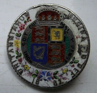 1887 Queen Victoria Silver Half Crown Coin Enamel Brooch Very Detailed Flowers