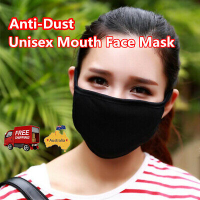 2x Unisex Mouth Face Mask for Cycling Black Cotton Anti-Dust Respirator AU Stock