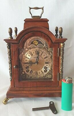 Warmink Mantel Clock Dutch Vintage Bell Strike Silent Option Original Key