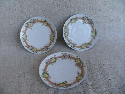 Japanese Pretty Set Of 3 Saucers With Pink & Yellow Floral Border