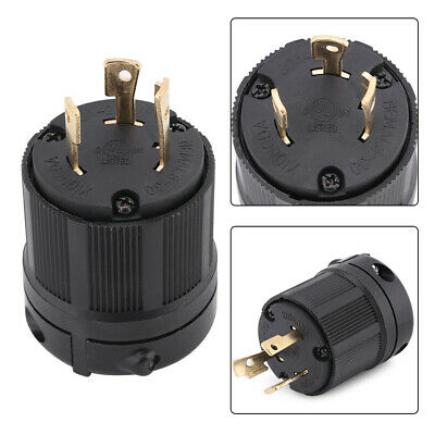 NEMA L6-30P 30 Amp 250 Volt Twist Lock 3 Wire Electrical Power Plug Connector US