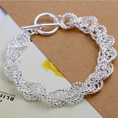 Rope circle 925 solid Silver fashion lady women chain wedding bracelet Jewelry