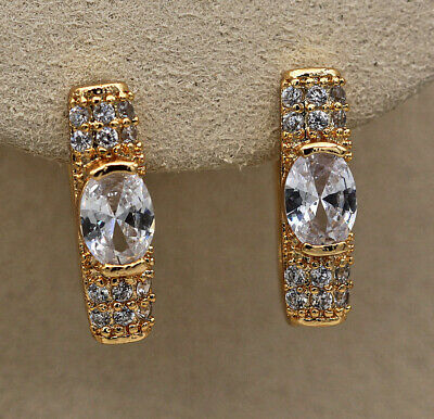 18K Gold Filled Earring Square Inlaid Big Gems Topaz Stylish Ear Hoop Jewelry SW