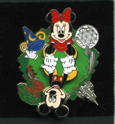 Disney Mickey and Minnie Mouse Four Parks One World Spinner Pin