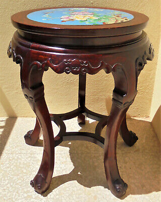 CINA (China): Fine Chinese stool carved in rosewood with cloisonne