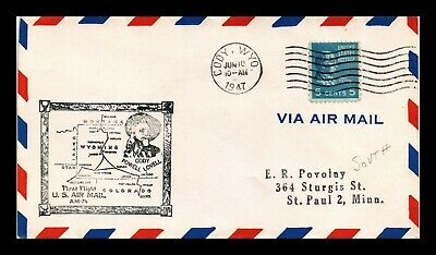 Dr Jim Stamps Us Cody Wyoming Am 74 First Flight Air Mail Cover Salt Lake City