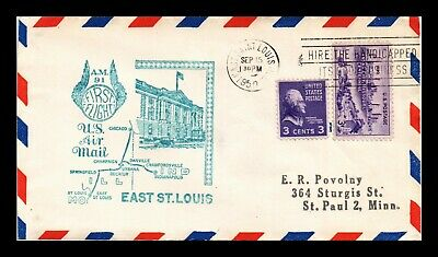 Dr Jim Stamps Us East St Louis First Flight Air Mail Cover Am 91 Chicago