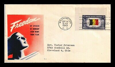 Dr Jim Stamps Us Four Freedoms Cachet Belgium Overrun County Fdc Cover Scott 914