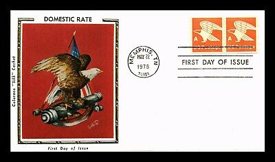 Dr Jim Stamps Us Domestic Rate A Eagle Colorano Silk Fdc Cover Pair